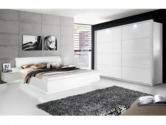 Silent Komplett-Schlafzimmer, Weiss Hochglanz, 4-Teilig 200 Cm