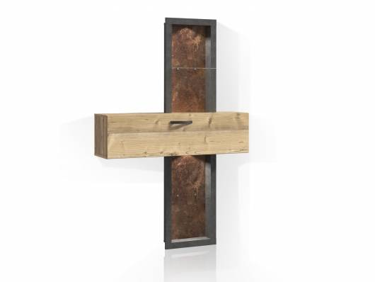 KALIMA Regal, Material Dekorspanplatte, fichtefarbig/betonfarbig
