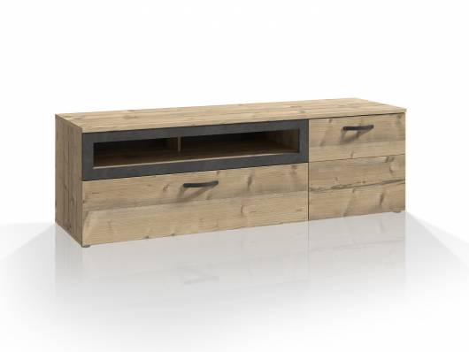 KALIMA TV-Unterschrank, Material Dekorspanplatte, fichtefarbig/betonfarbig