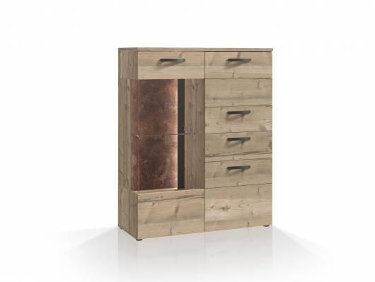 KALIMA Highboardvitrine klein, Material Dekorspanplatte, fichtefarbig/betonfarbig