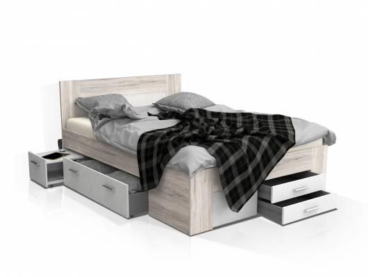DALIA Funktionsbett 140x200 cm, Material Dekorspanplatte, sandeichefarbig/weiss