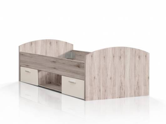 WALDY Jugendbett, Material Dekorspanplatte, sandeichefarbig/weiss
