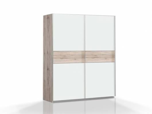 WALDY Schiebetürenschrank, Material Dekorspanplatte, sandeichefarbig/weiss