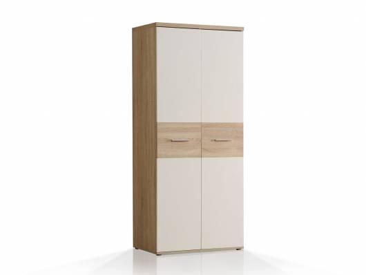 WALDY Kleiderschrank mit 2 Türen, Material Dekorspanplatte, Eiche sonomafarbig/weiss