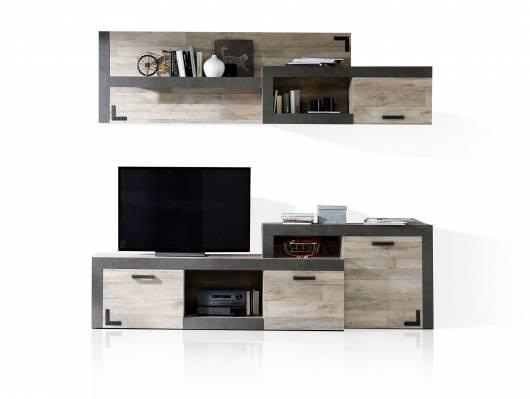 NAIMA Wohnwand, Material Dekorspanplatte,  Eiche vintagefarbig/betonfarbig