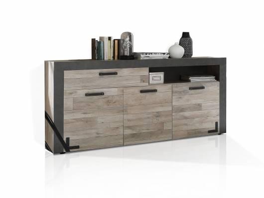 NAIMA Sideboard, Material Dekorspanplatte, Eiche vintagefarbig/betonfarbig