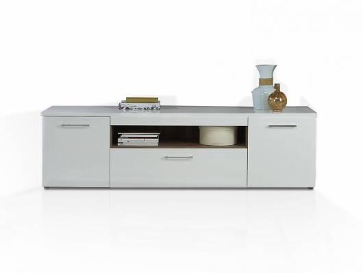BELMIRA TV-Lowboard, Material Dekorspanplatte, weiss/Picea kieferfarbig
