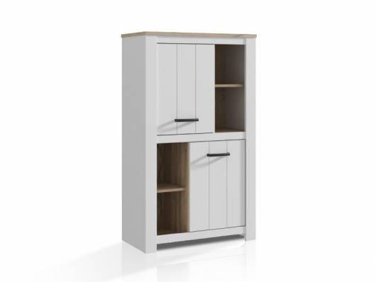 EDINA Schrank mit 2 Türen, Material Dekorspanplatte, weiss/Eiche biancofarbig