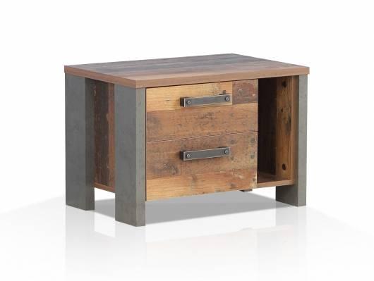 CASSIA Nachtkommode mit 2 SK, Material Dekorspanplatte, Old Wood Vintage/betonfarbig