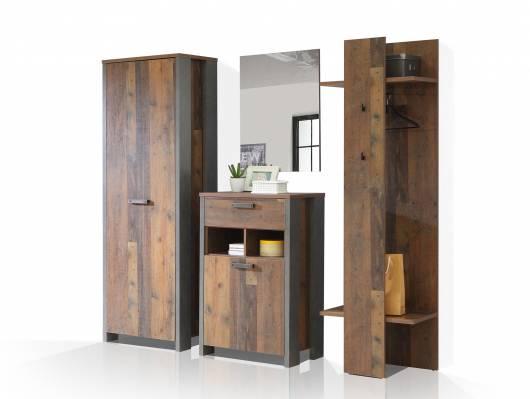 CASSIA Garderobe, Material Dekorspanplatte, Old Wood Vintage/betonfarbig
