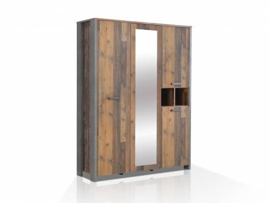 CASSIA Kleiderschrank 3-trg, Material Dekorspanplatte, Old Wood Vintage/betonfarbig
