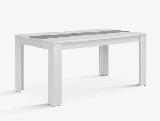 EMARA Esstisch 160x90 cm, Material Dekorspanplatte, weiss/betonfarbig