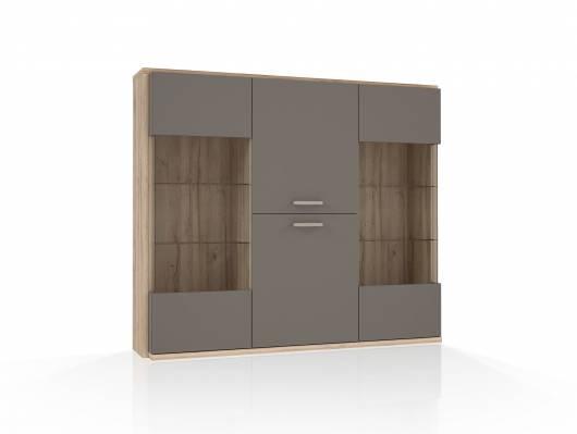 ADANA Highboardvitrine, Material Dekorspanplatte, Eiche biancofarbig/basaltfarbig