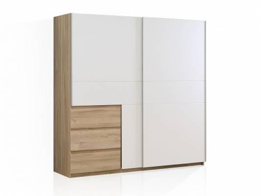 CALISTO Kleiderschrank mit Schubkästen, Material Dekorspanplatte, weiss/Eiche biancofarbig