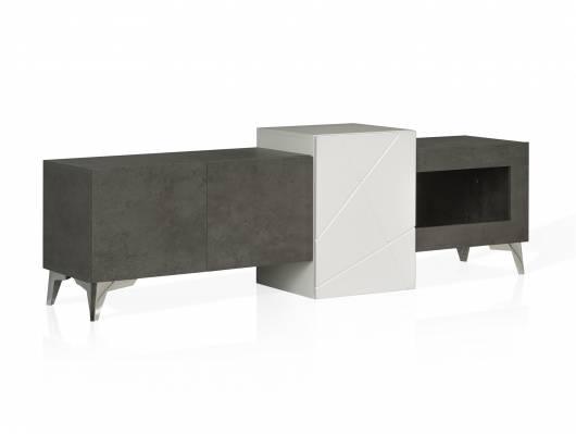 JAKOBA TV-Lowboard, Material MDF, betonfarbig dunkelgrau/weiss