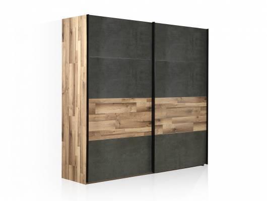 RICCANO Schiebetürenschrank, Material Dekorspanplatte, stabeichefarbig/grau