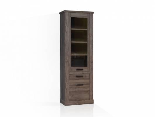 COLORADO Vitrine 2 Türen + 1 Schubkasten, Material Dekorspanplatte, eichefarbig Tabak