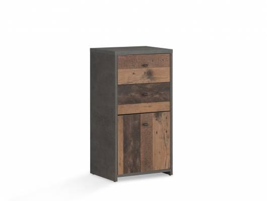 BADDY Kommode, 1 Tür+2 Schubkästen, Material Dekorspanplatte, Old Wood vintagefarbig/betonfarbig