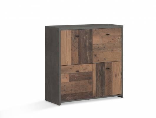 BADDY  Kommode, 4 Türen, Material Dekorspanplatte, Old Wood vintagefarbig/betonfarbig