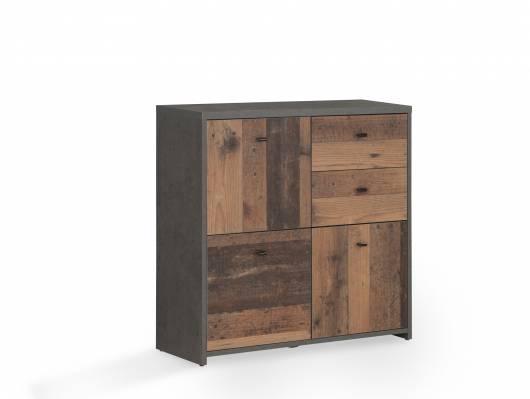 BADDY Kommode, 3 Türen+2 Schubkästen, Material Dekorspanplatte, Old Wood vintagefarbig/betonfarbig