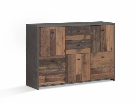 BADDY Kommode, 5 Türen+2 Schubkästen, Material Dekorspanplatte, Old Wood vintagefarbig/betonfarbig