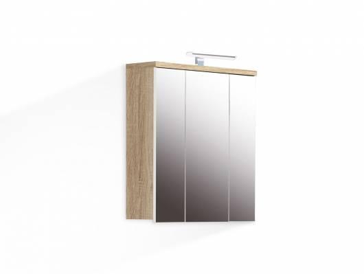 VENETA Spiegelschrank mit Beleuchtung, Material Dekorspanplatte, eichefarbig