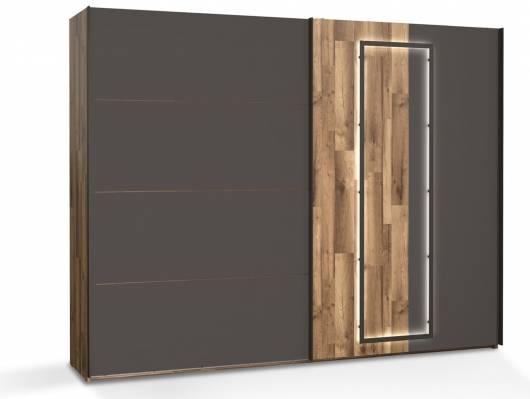 SESTRA Schiebetürenschrank, Material Dekorspanplatte, stabeichefarbig /grau