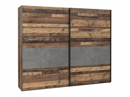 CASSIA Schwebetürenschrank, Material Dekorspanplatte, Old Wood Vintage/betonfarbig