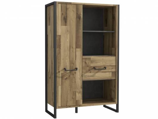HANIKA Regal/Wohnzimmerschrank, Material Dekorspanplatte, eichefarbig/betonfarbig