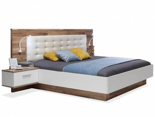 MEDUNA Bettanlage 180x200 cm, Material Dekorspanplatte, eichefarbig/weiss