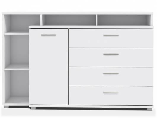 MAYLO Sideboard / Kommode mit 1 Tür und 4 Schubkästen, Material Dekorspanplatte, weiss