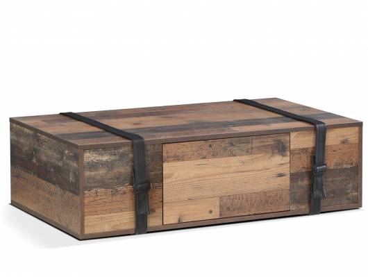 FELANO Couchtisch, Material Dekorspanplatte,  Old Wood vintagefarbig/Gürtel Kunstleder schwarz