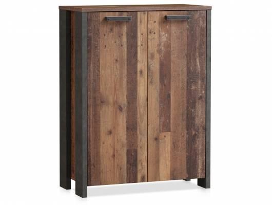 CASSIA Kommode 2 Türen, Material Dekorspanplatte, Old Wood Vintage/betonfarbig