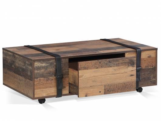 FELANO II Couchtisch mit Rollen Material Dekorspanplatte, Old Wood vintagefarbig/Gürtel Kunstleder schwarz