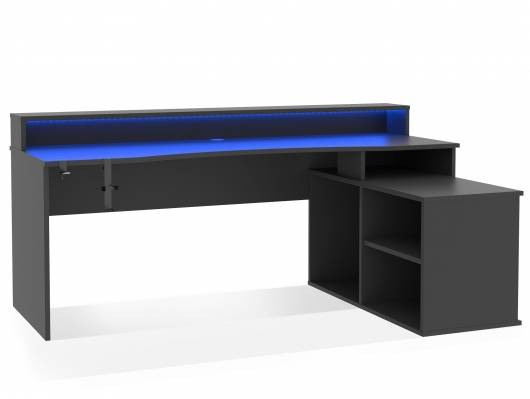 TEZO BIG Gaming Schreibtisch, Material Dekorspanplatte, schwarz matt