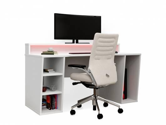 TEZO Gaming Schreibtisch, Material Dekorspanplatte, weiss matt, inklusive LED-Beleuchtung