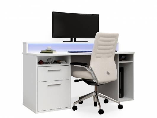 TEZO III Gaming Schreibtisch, Material Dekorspanplatte, weiss matt, inklusive LED-Beleuchtung