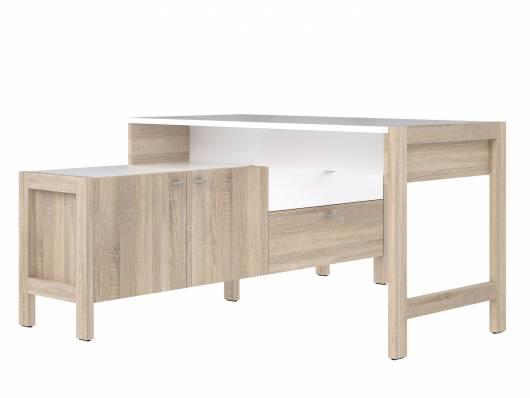 HALDO Schreibtisch, Material Dekorspanplatte, Eiche sonomafarbig/weiss