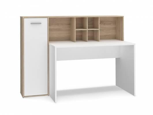 ELUIS Schreibtisch, Material Dekorspanplatte, Eiche Sonoma Nachbildung/weiss