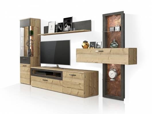 KALIMA Wohnwand, Material Dekorspanplatte, fichtefarbig/betonfarbig