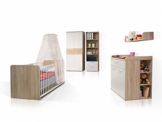 WALDY Babyzimmer, Material Dekorspanplatte, Eiche sonomafarbig/weiss