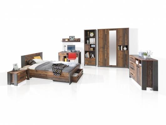 CASSIA Jugendzimmer 7-tlg., Material Dekorspanplatte, Old Wood Vintage/betonfarbig