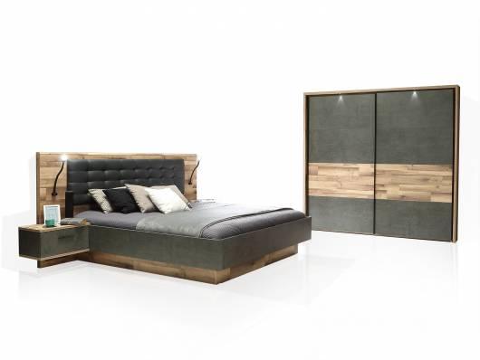RICCANO Komplett-Schlafzimmer I, Material Dekorspanplatte, stabeichefarbig/grau