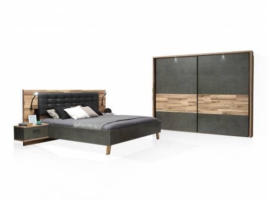 RICCANO Komplett-Schlafzimmer II, Material Dekorspanplatte, stabeichefarbig/grau