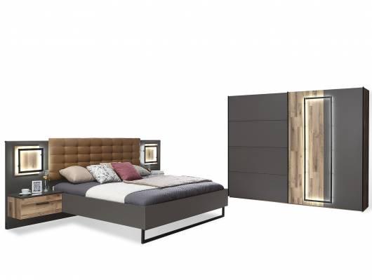 SESTRA Komplett-Schlafzimmer, Material Dekorspanplatte, stabeichefarbig/grau