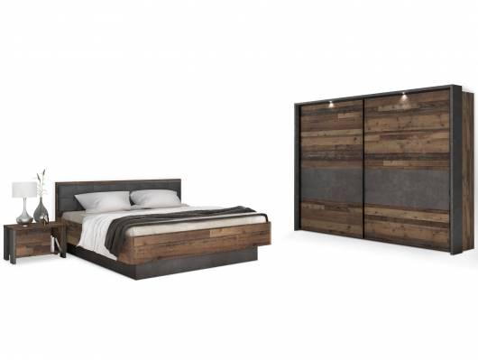 CASSIA Komplett-Schlafzimmer, Material Dekorspanplatte, Old Wood Vintage/betonfarbig