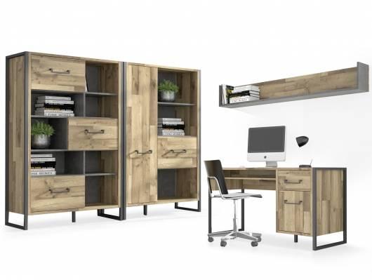 HANIKA Komplett Büro, Material Dekorspanplatte, eichefarbig/betonfarbig
