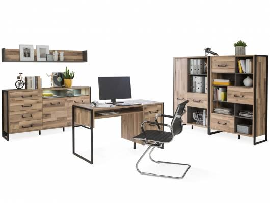 HANIKA Komplett Büro II, Material Dekorspanplatte, eichefarbig/betonfarbig
