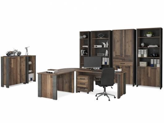 CASSIA Komplettbüro, Material Dekorspanplatte, Old Wood Vintage/betonfarbig