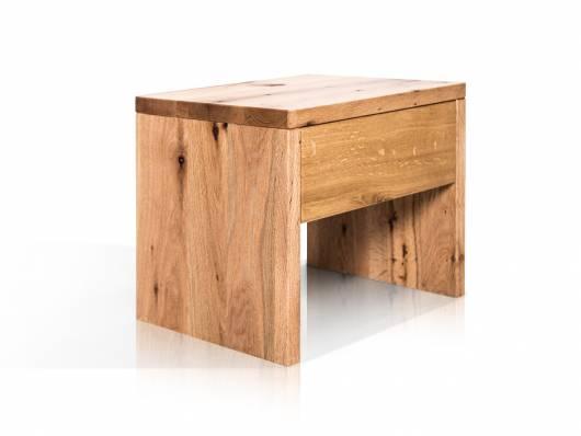 LIAS Nachtkommode mit Schubkasten, Material Massivholz, Wildeiche